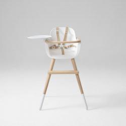 Стул Micuna OVO ORIGINAL (Микуна Ово Ориджинал Люкс Ван) LUXE ONE (white/natural) кожаные ремни beige