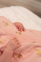 Спальный мешок Bizzi Growin (Биззи Гровин) Gold Flamingo муслин Tog 0,5 0-6 мес BG611C