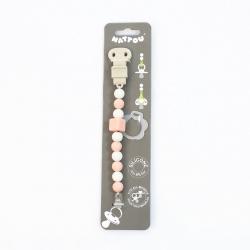 Держатель Nattou (Наттоу) для фиксации соски Pacifinder Lapidou light pink-white 879347
