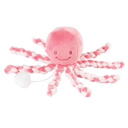 Игрушка мягкая Nattou Musical Soft toy (Наттоу Мьюзикал Софт Той) Lapidou Octopus pink coral – light pink музыкальная 879262