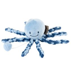 Игрушка мягкая Nattou Musical Soft toy (Наттоу Мьюзикал Софт Той) Lapidou Octopus navy blue – light blue музыкальная 879279