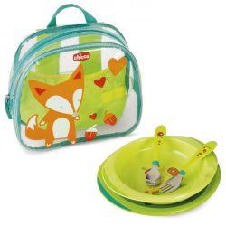 Набор детской посуды в рюкзачке Chicco (тарелки 2 шт., ложка, вилка), 18м+