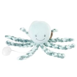 Игрушка мягкая Nattou Musical Soft toy (Наттоу Мьюзикал Софт Той) Lapidou Octopus coppergreen – mint музыкальная 879255