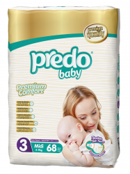Подгузники Predo Baby Гигантская пачка (68 шт.) № 3 (4-9 кг) средний
