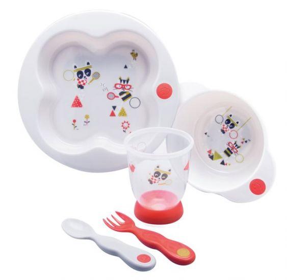 """Набор посуды Bebe Confort """"Sport"""" (тарелка, миска, стаканчик, ложка и вилка) цвет белый"""